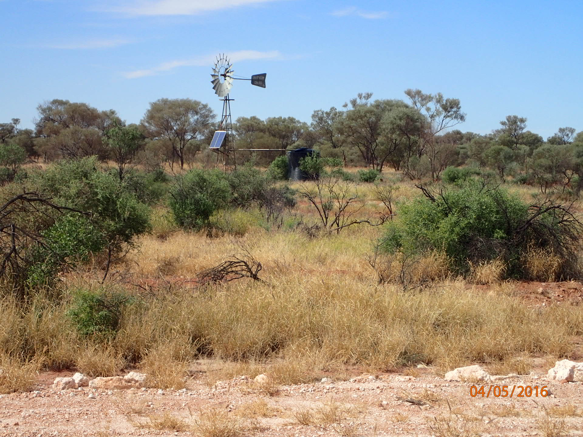 A bush windmill - welcome water at the junction of the Jackie Junction track and Great Central Road
